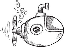 Doodle Submarine Vector Royalty Free Stock Images