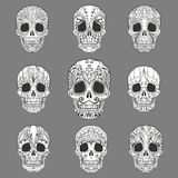 Doodle Sugar Skull Collection. Day of the Dead Doodle Sugar Skulls set. Vector Collection Royalty Free Stock Images