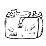 Doodle suitcase full of bones Royalty Free Stock Photos