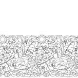 Doodle Summer Beach Seamless Border Royalty Free Stock Photography