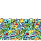 Doodle Summer Beach Seamless Border Stock Photos