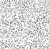 Doodle Summer Beach Seamless Pattern royalty free stock photo