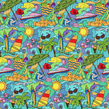 Doodle Summer Beach Seamless Pattern Royalty Free Stock Photography