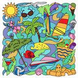Doodle Summer Beach Stock Image