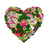 Doodle summer flowers in heart shape Stock Photos