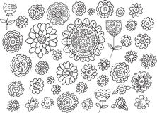 Doodle Summer Flowers Vector Set Stock Photo