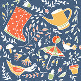 Doodle summer garden seamless pattern. Royalty Free Stock Image