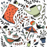 Doodle summer garden seamless pattern. Royalty Free Stock Images