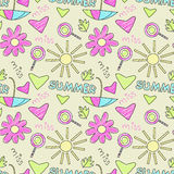 Doodle summer pattern Royalty Free Stock Photography