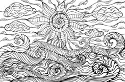 Doodle sun, clouds and ocean waves coloring page for children an vector illustration