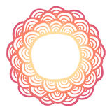 Doodle sun flower frame . Simple flower label. Royalty Free Stock Images