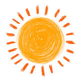 Doodle sun. Hand draw by crayon use for background Stock Photos