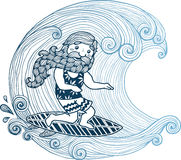 Doodle surfer with long beard at short board  Royalty Free Stock Image