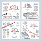 Doodle sushi and rolls on wood. Japanese traditional cuisine dishes illustration. Vector cards collection for asian restaurant menu Royalty Free Stock Photography