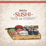 Doodle sushi and rolls on wood. Japanese traditional cuisine dishes illustration. Vector card for asian restaurant menu Stock Photos