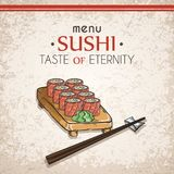Doodle sushi and rolls on wood. Japanese traditional cuisine dishes illustration. Vector card for asian restaurant menu Stock Photography