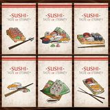 Doodle sushi and rolls on wood. Japanese traditional cuisine dishes illustration. Vector cards collection for asian restaurant menu Royalty Free Stock Photos