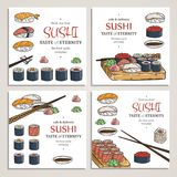 Doodle sushi and rolls on wood. Japanese traditional cuisine dishes illustration. Vector cards collection for asian restaurant menu Royalty Free Stock Photo
