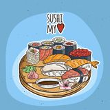Doodle sushi and rolls on wood. Japanese traditional cuisine dishes illustration. Vector image for asian restaurant menu Royalty Free Stock Photo
