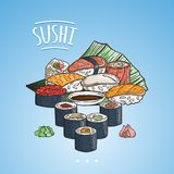 Doodle sushi and rolls on wood. Japanese traditional cuisine dishes illustration. Vector image for asian restaurant menu Royalty Free Stock Image