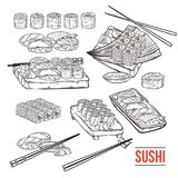 Doodle sushi and rolls on wood. Japanese traditional cuisine dishes set. Vector illustration for asian restaurant menu Royalty Free Stock Photo