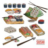 Doodle sushi and rolls on wood. Japanese traditional cuisine dishes set. Vector illustration for asian restaurant menu Stock Photos