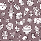 Doodle sweets pattern. Vector doodle seamless pattern with sweets for wallpaper, web page background, surface textures, textile, scrap book, design fabric, menu Stock Photo