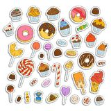 Doodle sweets set. Ice cream, donuts, cupcakes, chocolate, candies. Paper cut out stickers and labels Stock Photography