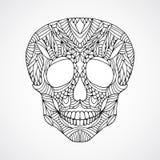 Doodle swirled human skull Stock Image