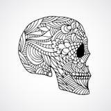 Doodle swirled skull profile Stock Photography