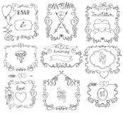 Doodle swirls,frame,arrows,borders,decor element Stock Photography