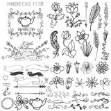 Doodle swirls,ribbons,floral decor element for. Doodles flowers,brunshes,swirl border and arrows,ribbons with decor elements set for hand logo, design templates Royalty Free Stock Photography