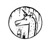 Doodle Szkicowa jednorożec Obraz Royalty Free