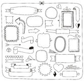 Doodle sztandarów ramy i projektów elementy Zdjęcia Stock
