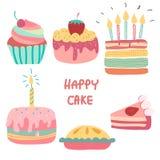 Doodle tęczy ręka rysujący śliczny urodzinowy tort ilustracji
