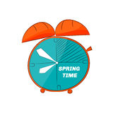 Doodle table clock. Spring time. Royalty Free Stock Images