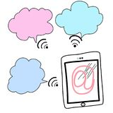 Doodle tablet with speech bubble technology concept vector eps.10 Royalty Free Stock Images