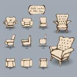 Doodle Armchair set Stock Images