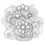 Doodle tangle flowers in the basket Royalty Free Stock Image