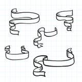 Doodle tasiemkowi sztandary i projekta element również zwrócić corel ilustracji wektora Obraz Stock
