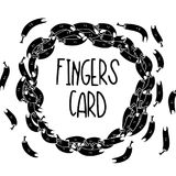 Doodle tattoo finger printable card. Hand Drawn Black and White Simple tattoo Doodle fingers card in Kids Style. Template Background with Drawing Vector tattoo Stock Photos