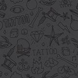 Doodle tattoo seamless vector background Royalty Free Stock Photography