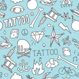 Doodle tattoo seamless vector background Stock Photo