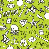 Doodle tattoo seamless vector background Royalty Free Stock Photo