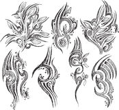 Doodle Tattoo symbols isolated Vector Royalty Free Stock Image