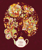 Doodle teapot with colourful floral smoke Stock Photos