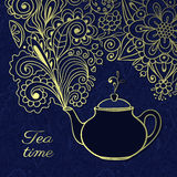 Doodle teapot with floral smoke Royalty Free Stock Images