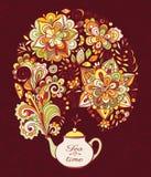 Doodle teapot z colourful kwiecistym dymem Zdjęcia Stock
