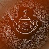 Doodle teapot z kwiecistym dymem Obraz Royalty Free