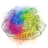 Doodle text back to school with various school supplies and rainbow watercolor splashes. Vector element for stickers, cards and your creativity royalty free illustration